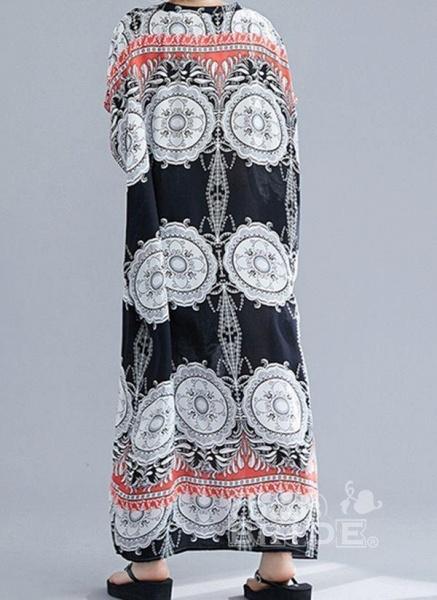 Plus Size Tunic Floral V-Neckline Casual Maxi Plus Dress_2
