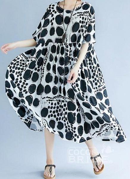 Red Plus Size Tunic Polka Dot Round Neckline Casual Midi Plus Dress_4