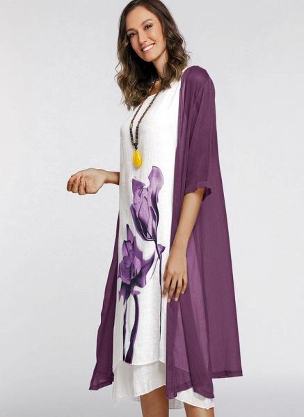 Floral Wrap Round Neckline Midi X-line Dress_17