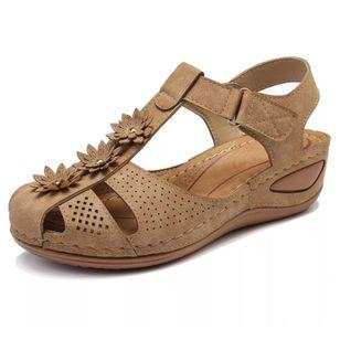 Women's Flower Slingbacks Nubuck Flat Heel Sandals_6