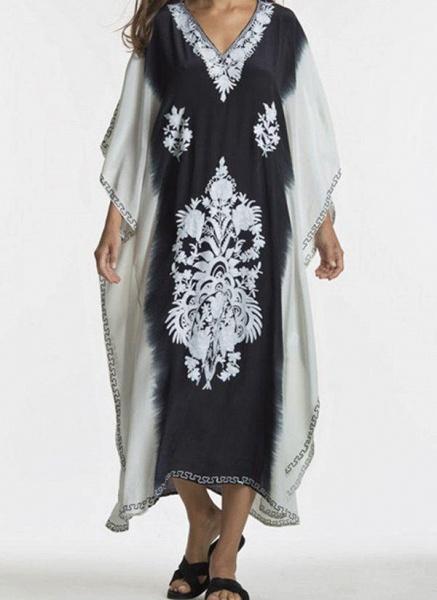 Black Plus Size Tunic Color Block V-Neckline Casual Midi Plus Dress_3