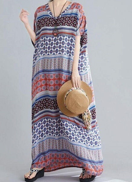 Multicolor Plus Size Tunic Geometric V-Neckline Casual Maxi Plus Dress_1