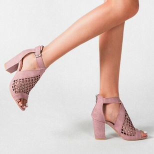 Women's Net Surface Buckle Ankle Strap Peep Toe Chunky Heel Sandals_1