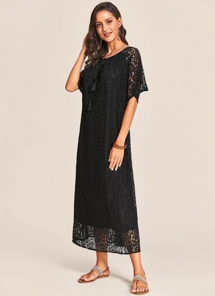 Black Plus Size Tunic Solid V-Neckline Casual Lace Plus Dress_1