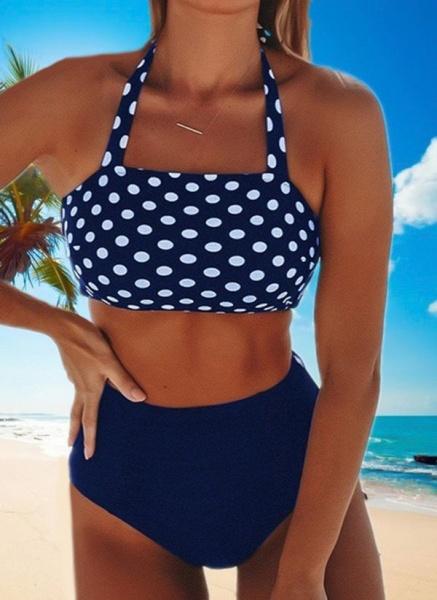 Polyester Halter Dot Bikinis Swimwear_2