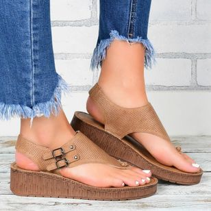 Women's Buckle Slingbacks Flat Heel Sandals Platforms_3