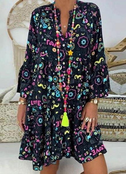 Black Plus Size Tunic Floral V-Neckline Casual Above Knee Plus Dress_1
