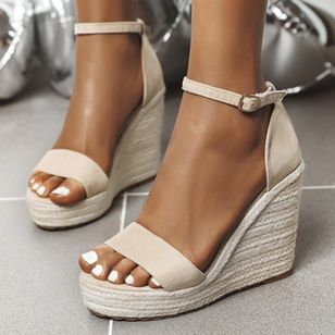 Women's Ankle Strap Modern Nubuck Wedge Heel Sandals_2