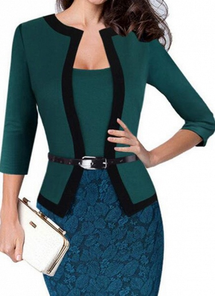 Elegant Color Block Wrap Pencil Bodycon Dress_3