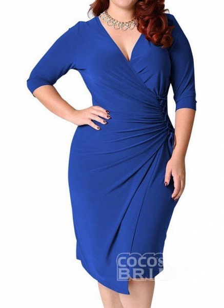 Red Plus Size Solid V-Neckline Casual Sashes Midi Plus Dress_10