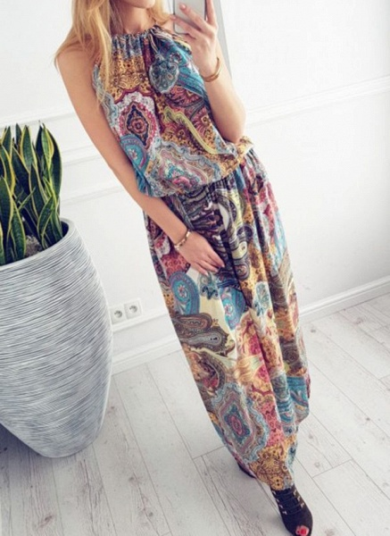 Casual Geometric Round Neckline Maxi X-line Dress_2