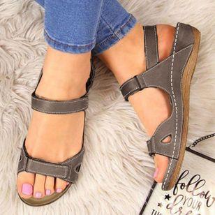 Women's Velcro Slingbacks Nubuck Flat Heel Sandals_2