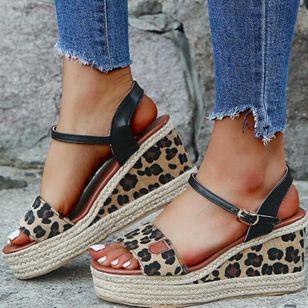 Women's Leopard Buckle Slingbacks Leatherette Wedge Heel Sandals Wedges_3