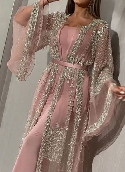 Elegant Color Block Pencil Round Neckline Sheath Dress_1