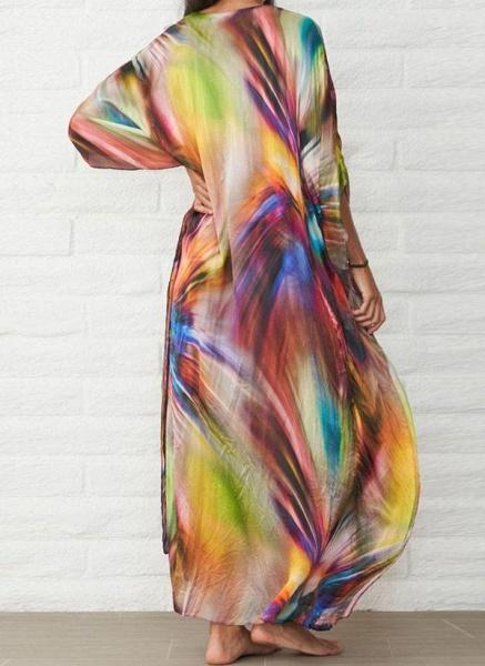 Brown Plus Size Color Block V-Neckline Casual Arabian Maxi Shift Dress Plus Dress_3