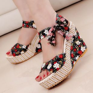 Women's Lace-up Flower Slingbacks Cloth Wedge Heel Sandals Platforms_3