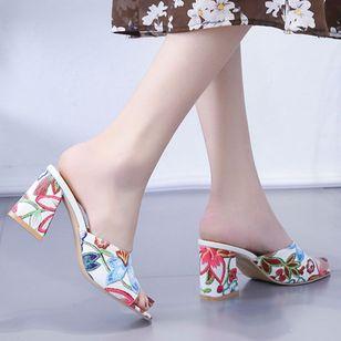 Women's Flower Heels Chunky Heel Sandals_3