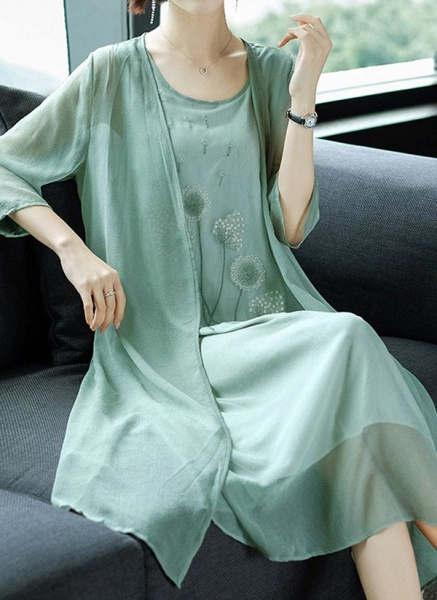 Casual Floral Tunic Round Neckline Shift Dress_1
