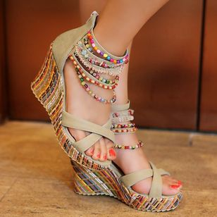 Women's Pearl Heels Leatherette Wedge Heel Sandals_3