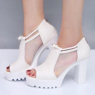 Women's Mesh Zipper Peep Toe Chunky Heel Sandals_4