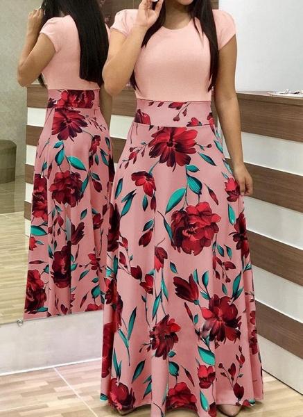 Casual Floral Wrap Round Neckline X-line Dress_5
