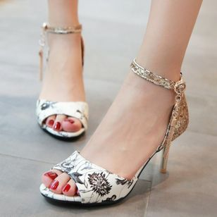 Women's Beading Buckle Heels Leatherette Stiletto Heel Sandals_2