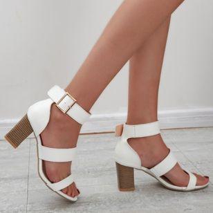 Women's Buckle Heels Chunky Heel Sandals_1