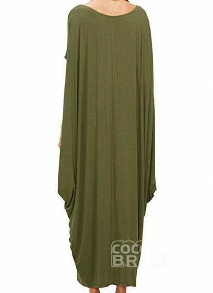 Black Plus Size Tunic Solid Round Neckline Casual Maxi Plus Dress_6