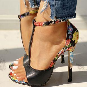 Women's Buckle Flower Heels Stiletto Heel Sandals_3