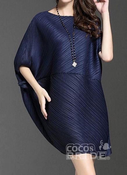 Dark Blue Plus Size Tunic Solid Round Neckline Elegant Above Knee Plus Dress_2