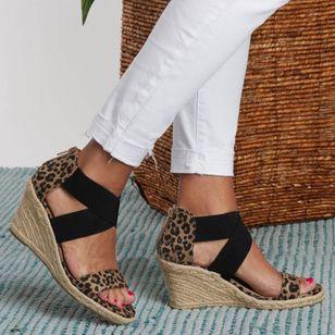 Women's Leopard Zipper Round Toe Heels Wedge Heel Sandals_3