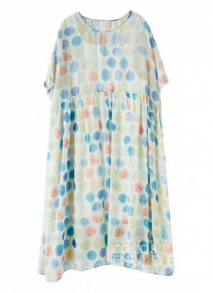 Multicolor Plus Size Tunic Polka Dot Round Neckline Casual Wrap Plus Dress_4