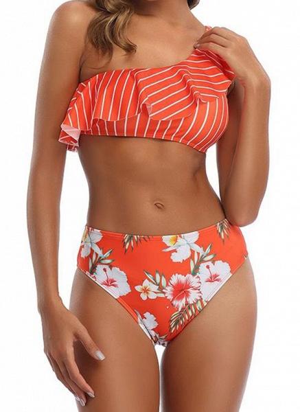 Polyester Oblique Neckline Pattern Floral Bikinis Swimwear_3