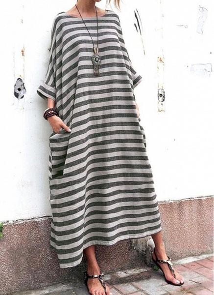 Gray Plus Size Tunic Stripe Round Neckline Casual Pockets Plus Dress_3