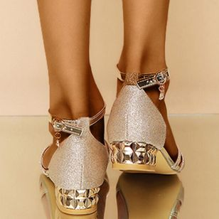Women's Crystal Buckle Low Top Low Heel Sandals