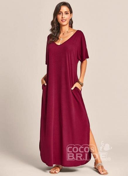 Royal Blue Plus Size Solid V-Neckline Casual Maxi Plus Dress_10
