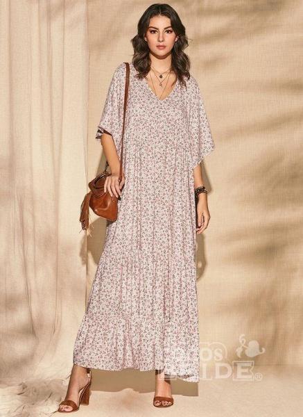 Pink Plus Size Color Block V-Neckline Casual Maxi Shift Dress Plus Dress_2