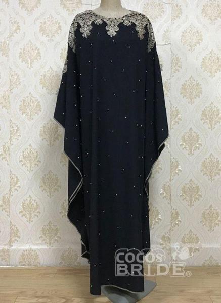 Black Plus Size Tunic Color Block Round Neckline Casual Rhinestones Plus Dress_3