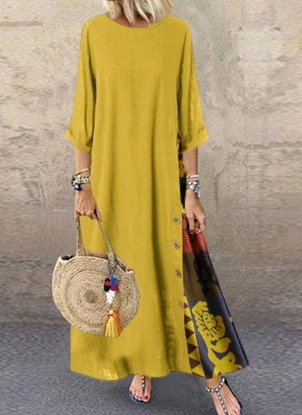 Yellow Plus Size Tunic Color Block Round Neckline Casual Buttons Plus Dress_1