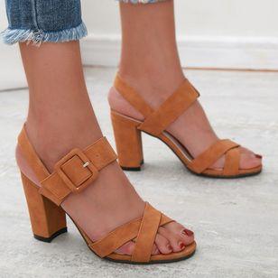 Women's Buckle Heels Nubuck Chunky Heel Sandals_3