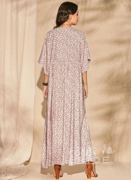 Pink Plus Size Color Block V-Neckline Casual Maxi Shift Dress Plus Dress_4