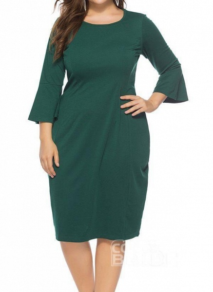 Green Plus Size Pencil Solid Round Neckline Casual Knee-Length Plus Dress_7
