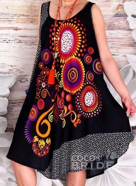 Plus Size Color Block Round Neckline Casual Knee-Length Shift Dress Plus Dress_3