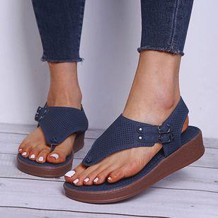Women's Buckle Flip-Flops Flat Heel Sandals Platforms_10