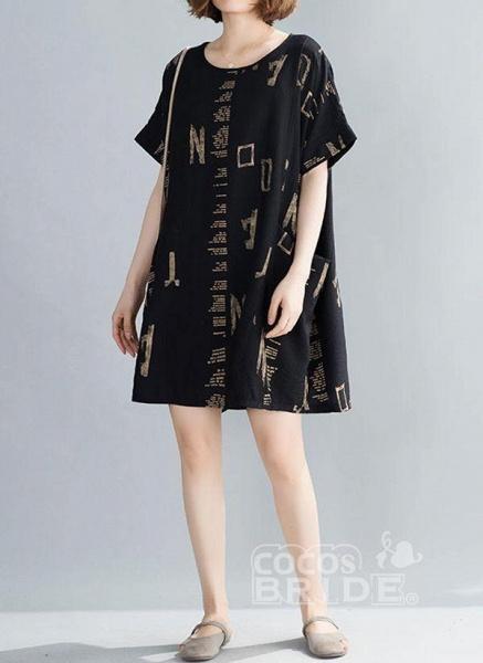 Black Plus Size Tunic Geometric Round Neckline Casual Pockets Plus Dress_3
