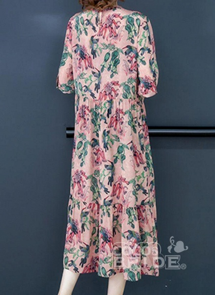 Rose Plus Size Floral Round Neckline Casual Ruffles Midi Plus Dress_2