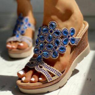 Women's Crystal Heels Wedge Heel Sandals_3