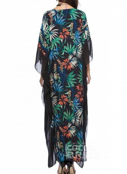 Black Plus Size Floral V-Neckline Casual Maxi Plus Dress_5
