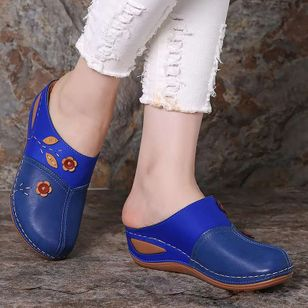 Women's Flower Closed Toe Wedge Heel Sandals_4