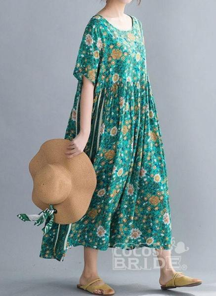 Plus Size Tunic Floral Round Neckline Casual Midi Plus Dress_2